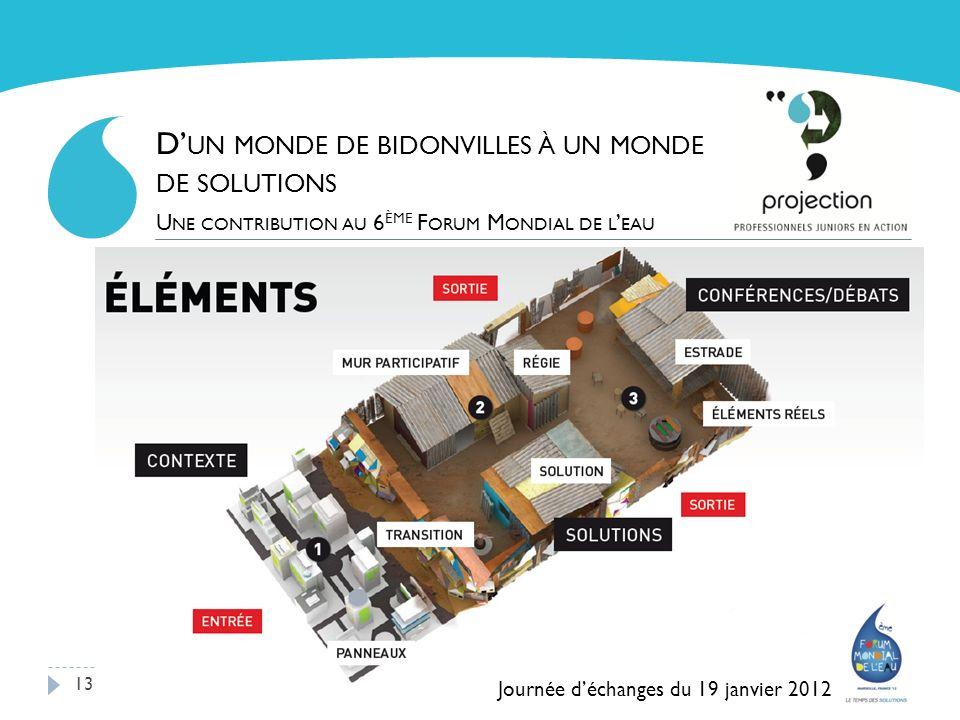 13 D UN MONDE DE BIDONVILLES À UN MONDE DE SOLUTIONS U NE CONTRIBUTION AU 6 ÈME F ORUM M ONDIAL DE L EAU Journée déchanges du 19 janvier 2012