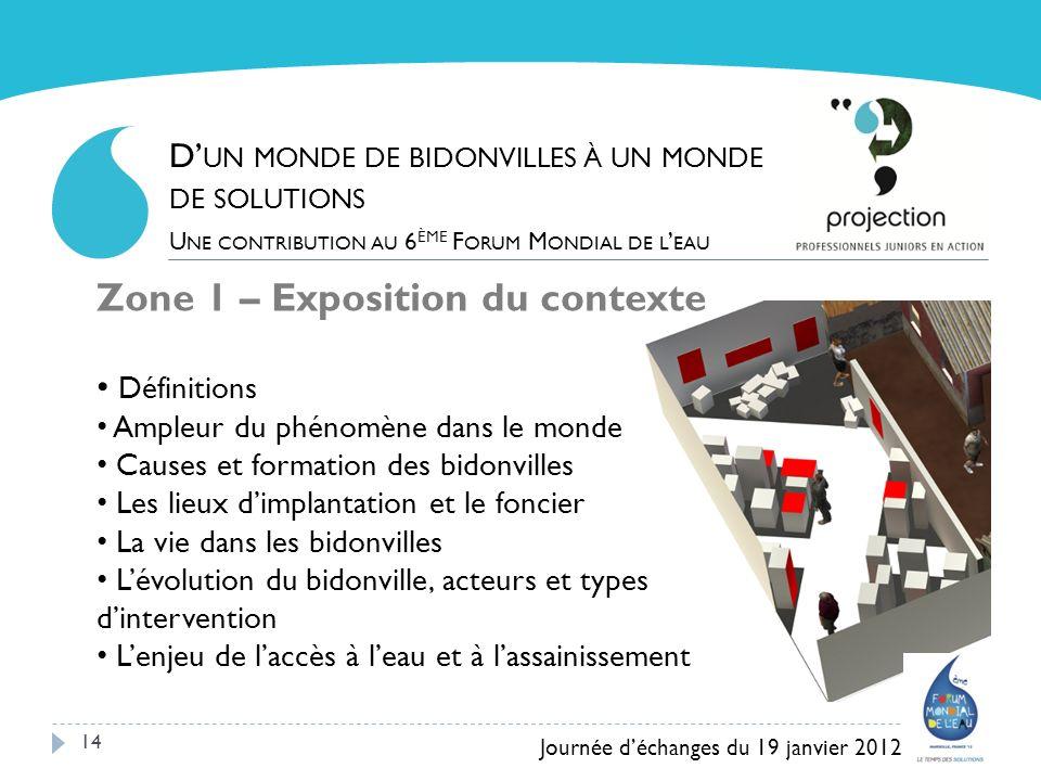 14 Zone 1 – Exposition du contexte Définitions Ampleur du phénomène dans le monde Causes et formation des bidonvilles Les lieux dimplantation et le fo