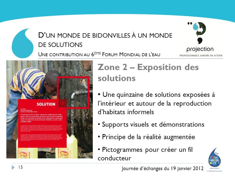 15 Zone 2 – Exposition des solutions Une quinzaine de solutions exposées à lintérieur et autour de la reproduction dhabitats informels Supports visuel
