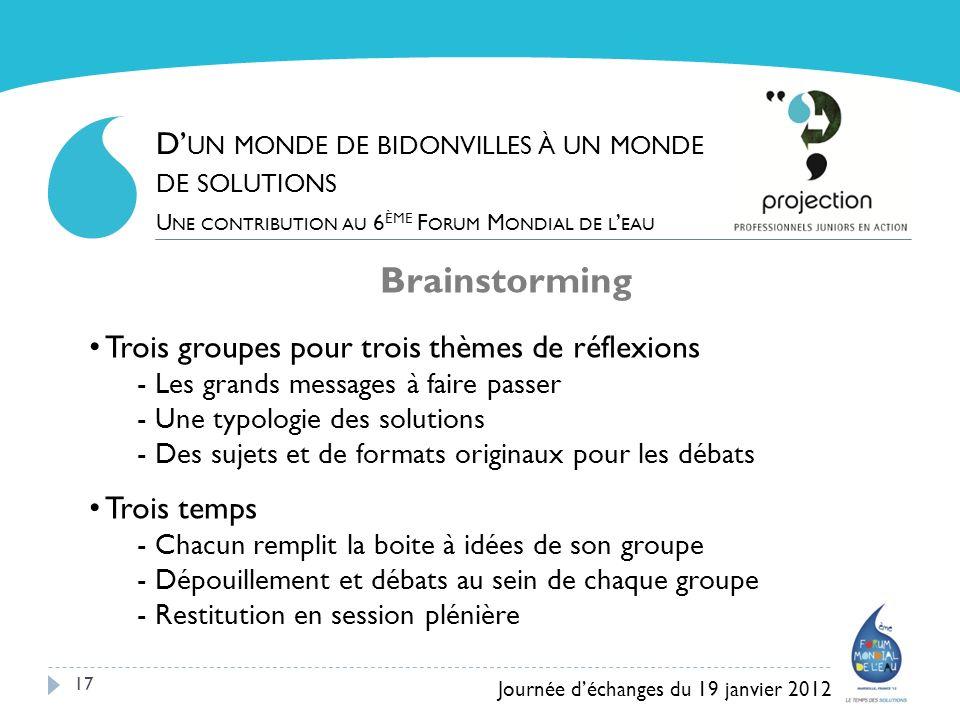 17 Brainstorming Trois groupes pour trois thèmes de réflexions - Les grands messages à faire passer - Une typologie des solutions - Des sujets et de f