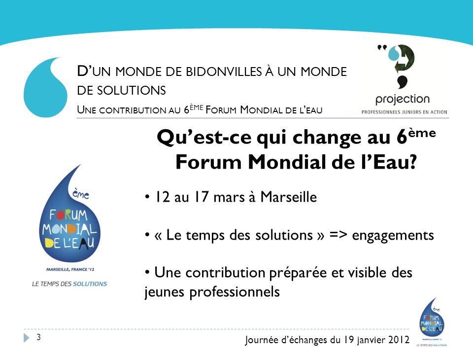 3 Quest-ce qui change au 6 ème Forum Mondial de lEau? 12 au 17 mars à Marseille « Le temps des solutions » => engagements Une contribution préparée et