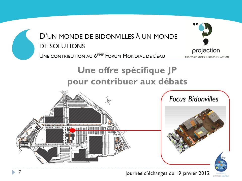 7 Une offre spécifique JP pour contribuer aux débats Journée déchanges du 19 janvier 2012 D UN MONDE DE BIDONVILLES À UN MONDE DE SOLUTIONS U NE CONTR