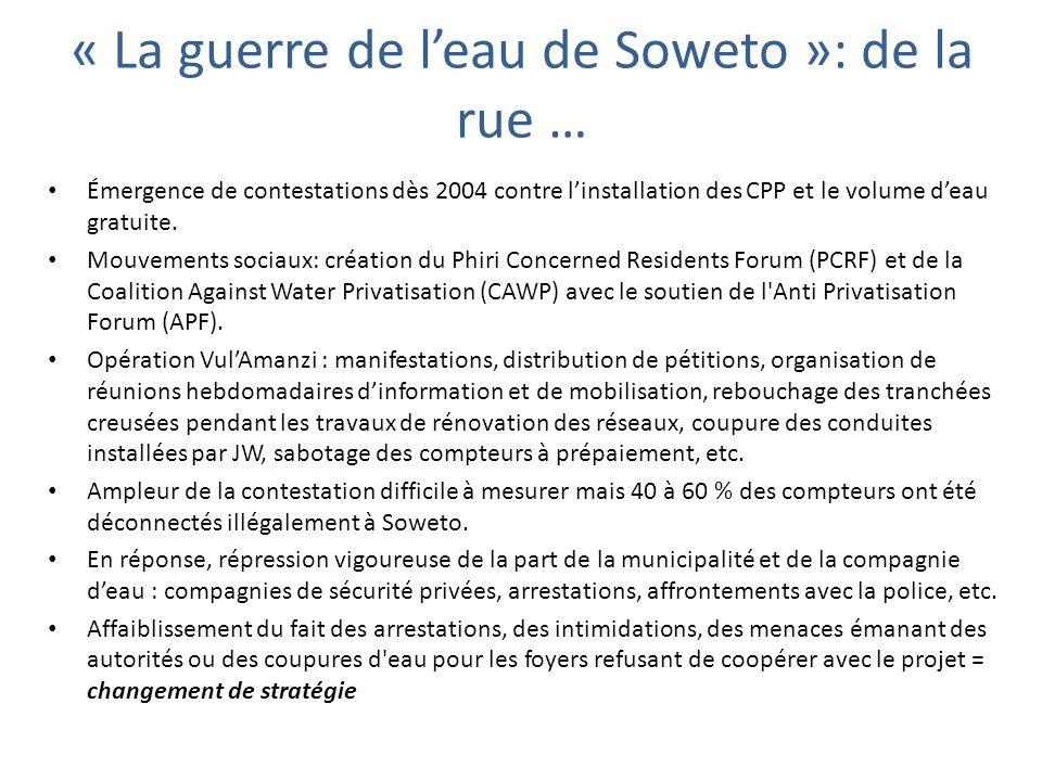 Émergence de contestations dès 2004 contre linstallation des CPP et le volume deau gratuite. Mouvements sociaux: création du Phiri Concerned Residents