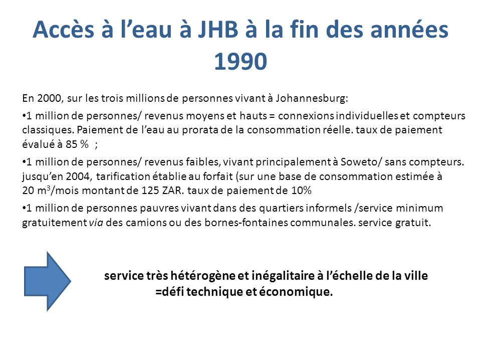 En 2000, sur les trois millions de personnes vivant à Johannesburg: 1 million de personnes/ revenus moyens et hauts = connexions individuelles et comp