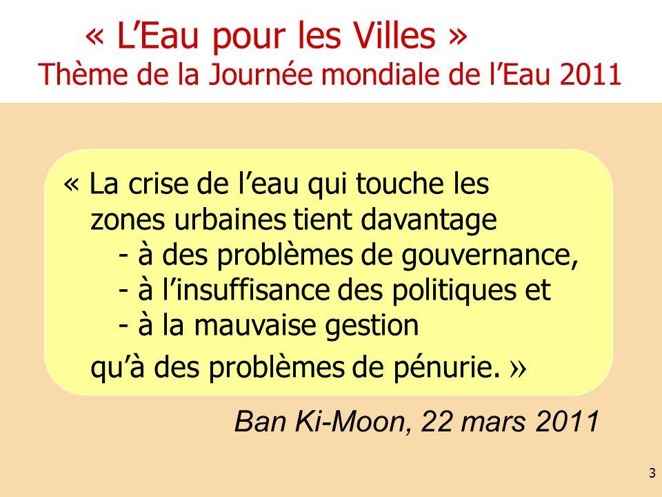 Ban Ki-Moon, 22 mars 2011 3 « LEau pour les Villes » Thème de la Journée mondiale de lEau 2011 « La crise de leau qui touche les zones urbaines tient