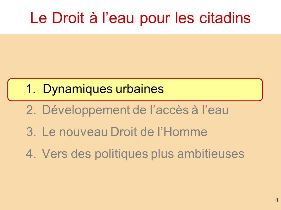 Le Droit à leau pour les citadins 1.Dynamiques urbaines 2.Développement de laccès à leau 3.Le nouveau Droit de lHomme 4.Vers des politiques plus ambit