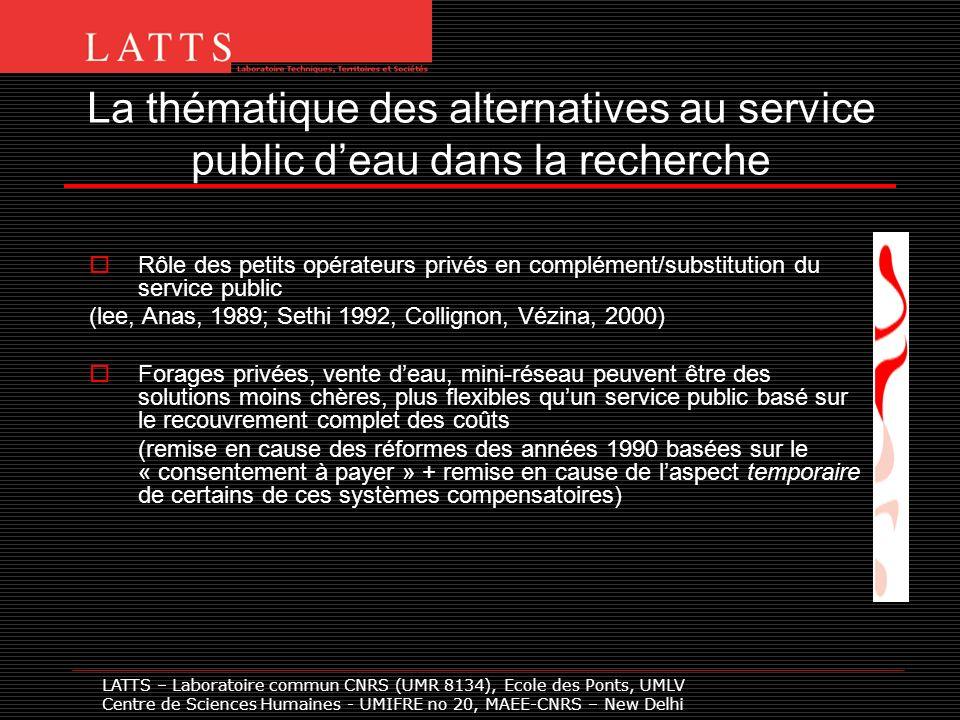 La thématique des alternatives au service public deau dans la recherche Rôle des petits opérateurs privés en complément/substitution du service public