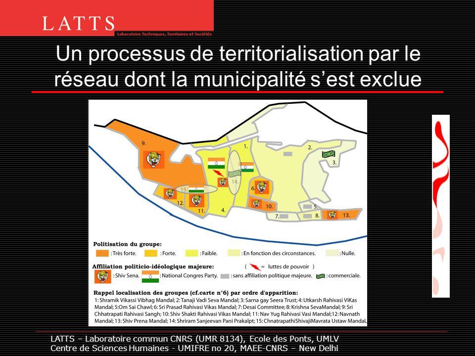 Un processus de territorialisation par le réseau dont la municipalité sest exclue LATTS – Laboratoire commun CNRS (UMR 8134), Ecole des Ponts, UMLV Centre de Sciences Humaines - UMIFRE no 20, MAEE-CNRS – New Delhi