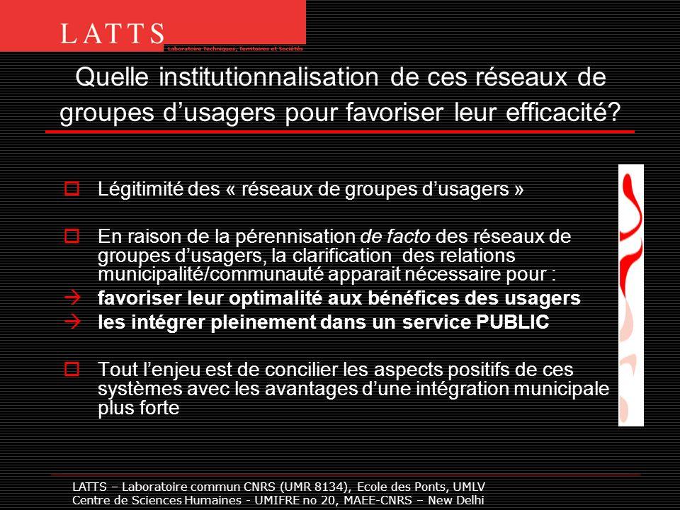 Quelle institutionnalisation de ces réseaux de groupes dusagers pour favoriser leur efficacité? Légitimité des « réseaux de groupes dusagers » En rais