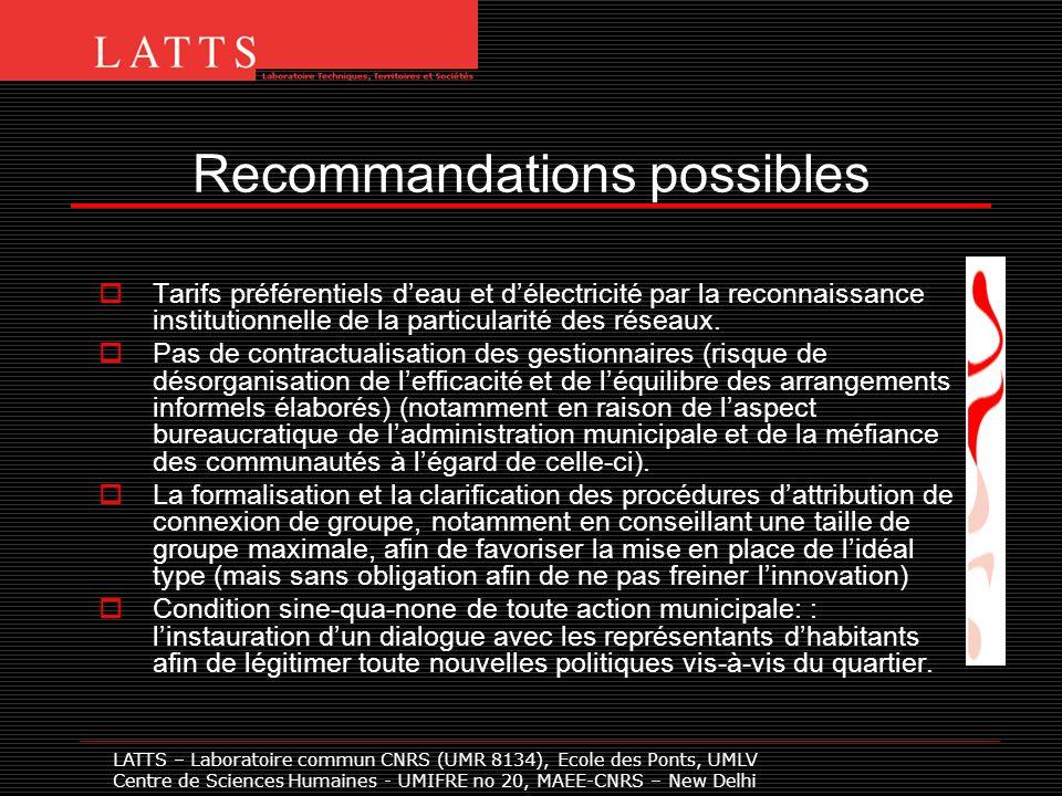 Recommandations possibles Tarifs préférentiels deau et délectricité par la reconnaissance institutionnelle de la particularité des réseaux. Pas de con