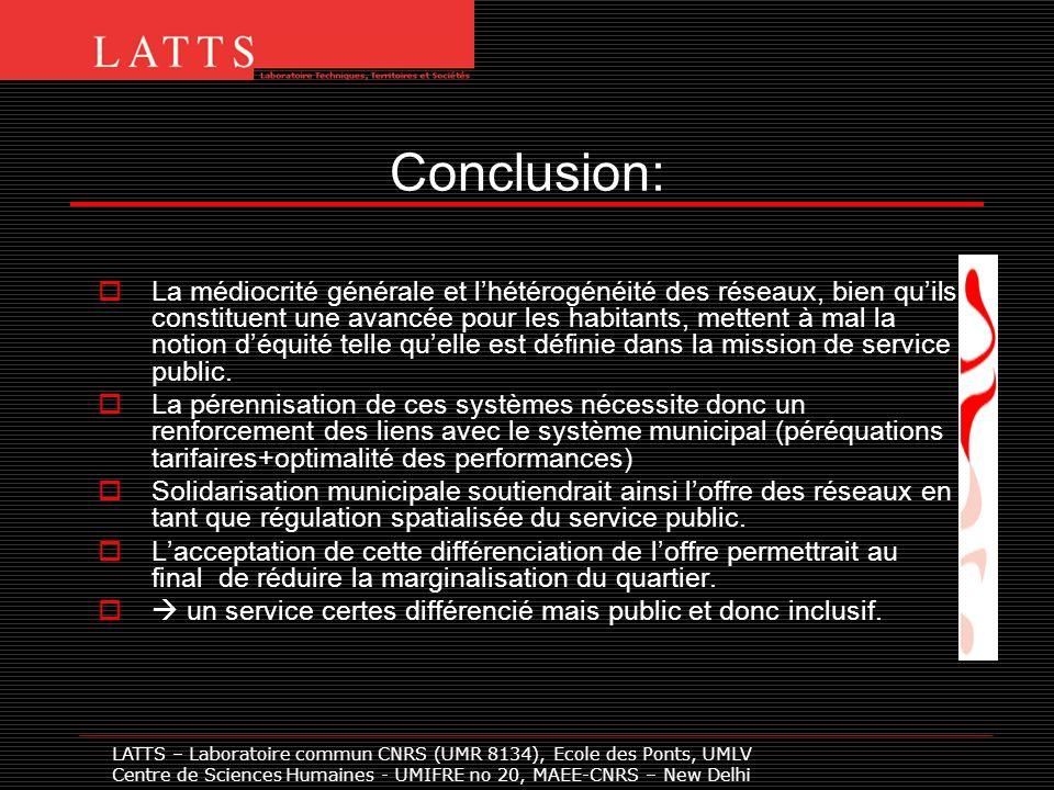 Conclusion: La médiocrité générale et lhétérogénéité des réseaux, bien quils constituent une avancée pour les habitants, mettent à mal la notion déquité telle quelle est définie dans la mission de service public.