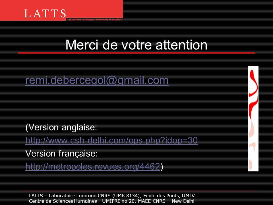 Merci de votre attention remi.debercegol@gmail.com (Version anglaise: http://www.csh-delhi.com/ops.php?idop=30 Version française: http://metropoles.revues.org/4462http://metropoles.revues.org/4462) LATTS – Laboratoire commun CNRS (UMR 8134), Ecole des Ponts, UMLV Centre de Sciences Humaines - UMIFRE no 20, MAEE-CNRS – New Delhi