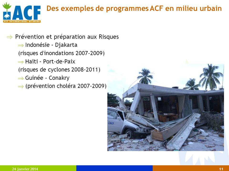 24 janvier 201411 Prévention et préparation aux Risques Indonésie – Djakarta (risques d inondations 2007-2009) Haïti – Port-de-Paix (risques de cyclon