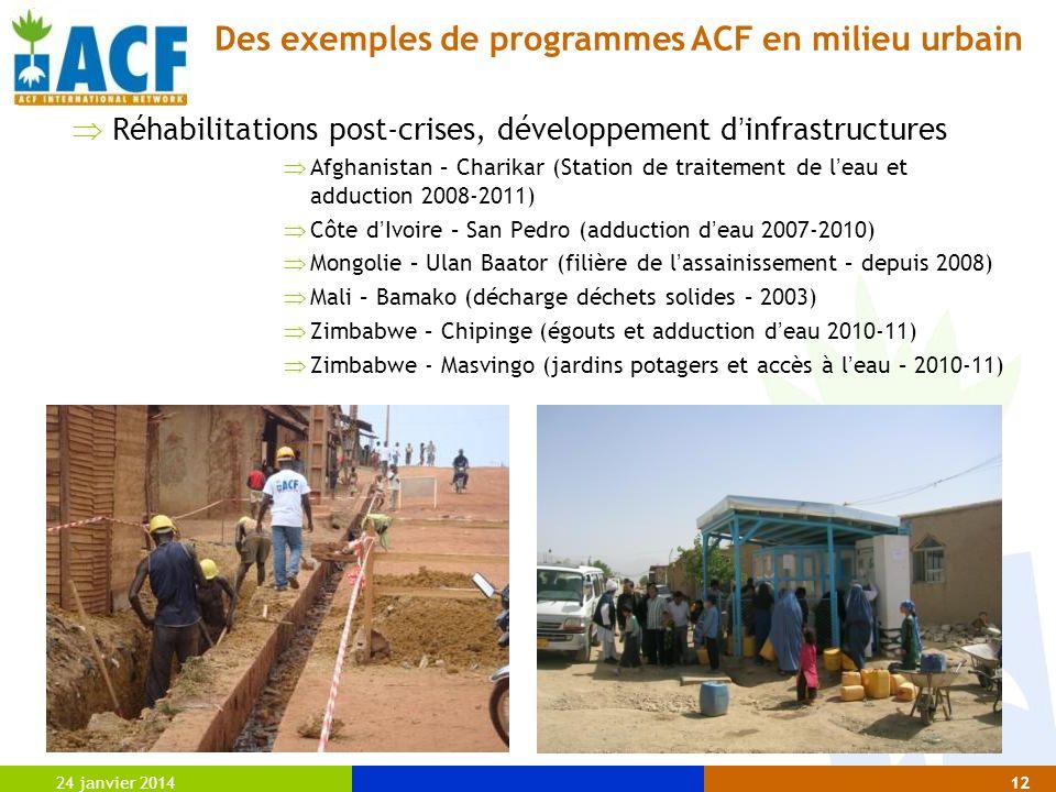 24 janvier 201412 Réhabilitations post-crises, développement d infrastructures Afghanistan – Charikar (Station de traitement de l eau et adduction 200