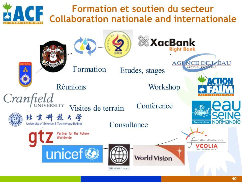40 Etudes, stages Visites de terrain Formation Workshop Consultance Conférence Formation et soutien du secteur Collaboration nationale and internation