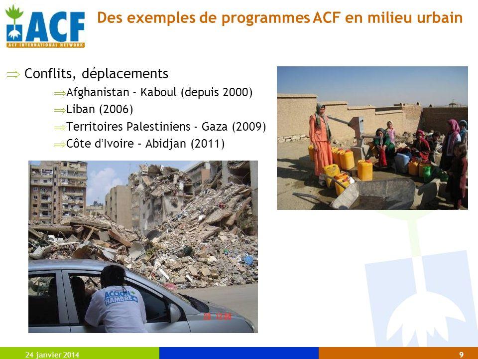 24 janvier 20149 Conflits, déplacements Afghanistan - Kaboul (depuis 2000) Liban (2006) Territoires Palestiniens - Gaza (2009) Côte d Ivoire – Abidjan