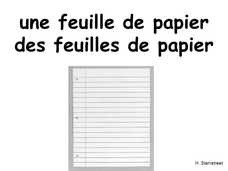 H. Stanistreet une feuille de papier des feuilles de papier
