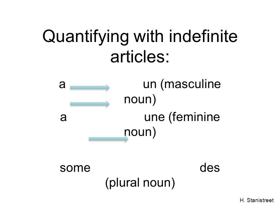 H. Stanistreet Quantifying with indefinite articles: aun (masculine noun) a une (feminine noun) some des (plural noun)