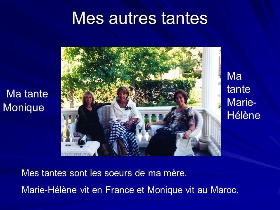 Mes autres tantes Ma tante Marie- Hélène Ma tante Monique Mes tantes sont les soeurs de ma mère. Marie-Hélène vit en France et Monique vit au Maroc.