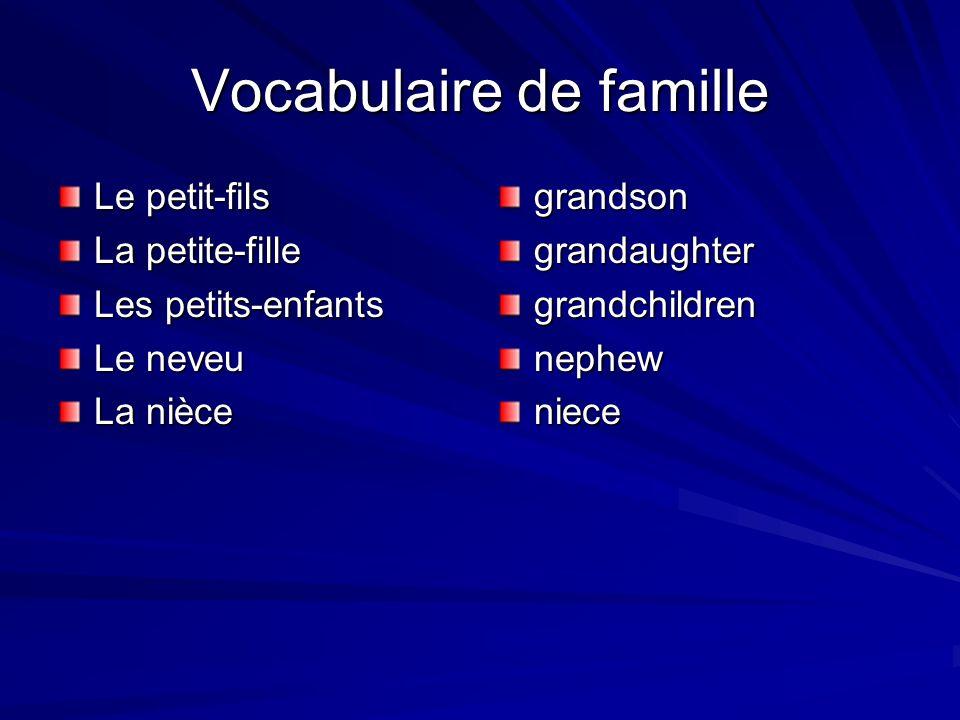 Vocabulaire de famille Le petit-fils La petite-fille Les petits-enfants Le neveu La nièce grandsongrandaughtergrandchildrennephewniece