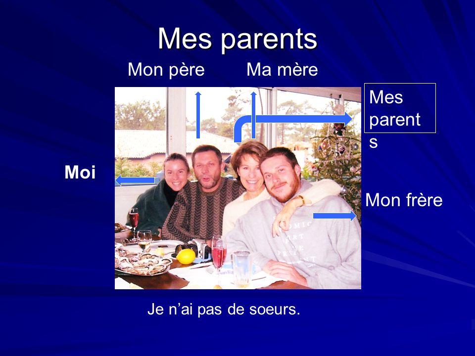 Mes parents Mes parents Moi Je nai pas de soeurs. Mi abuelo Mon frère Mes parent s Ma mèreMon père