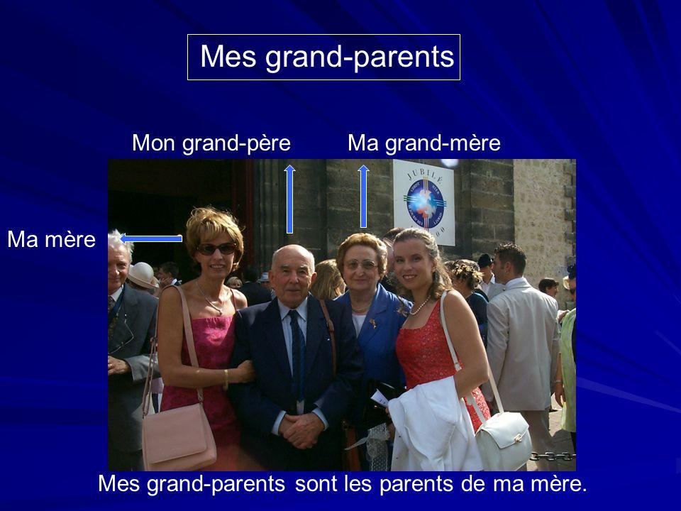 Ma mère Mon grand-père Mes grand-parents Ma grand-mère Mes grand-parents sont les parents de ma mère.