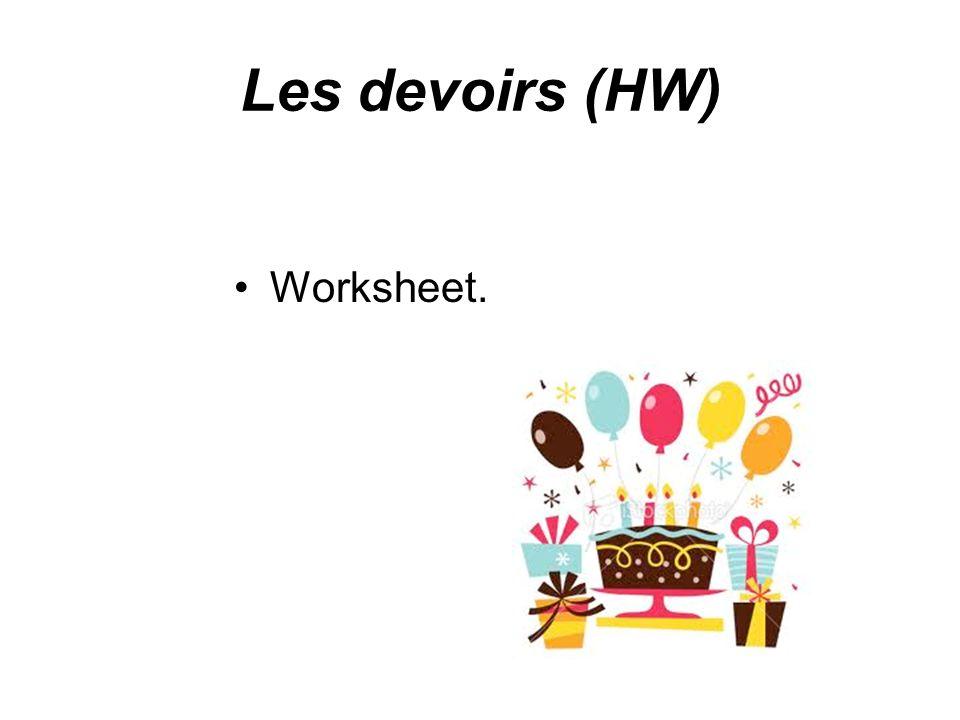 Les devoirs (HW) Worksheet.