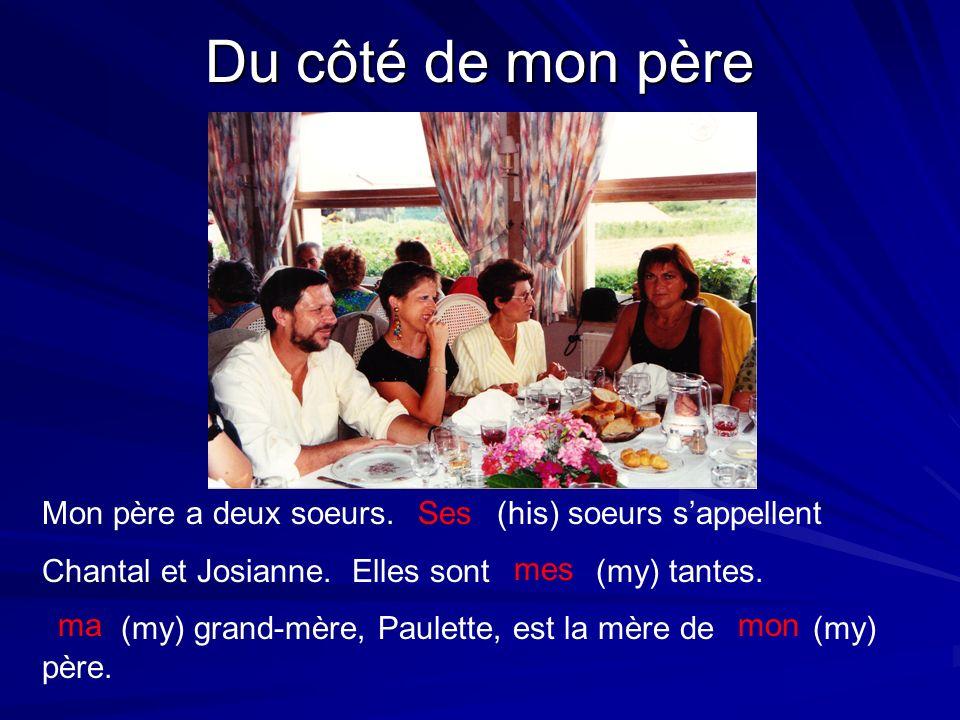 Du côté de mon père Mon père a deux soeurs. (his) soeurs sappellent Chantal et Josianne. Elles sont (my) tantes. (my) grand-mère, Paulette, est la mèr