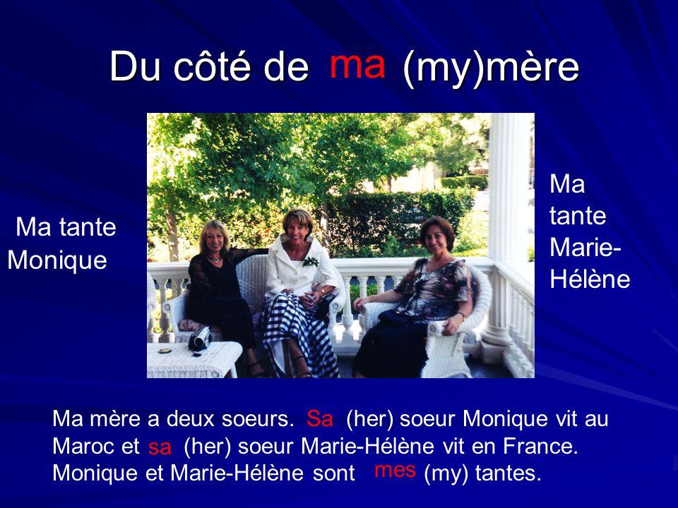 Ma tante Marie- Hélène Ma tante Monique Ma mère a deux soeurs. (her) soeur Monique vit au Maroc et (her) soeur Marie-Hélène vit en France. Monique et