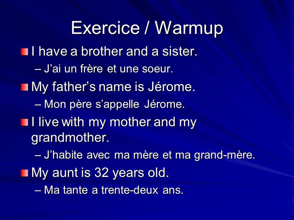 Du côté de mon père Mon père a deux soeurs.(his) soeurs sappellent Chantal et Josianne.