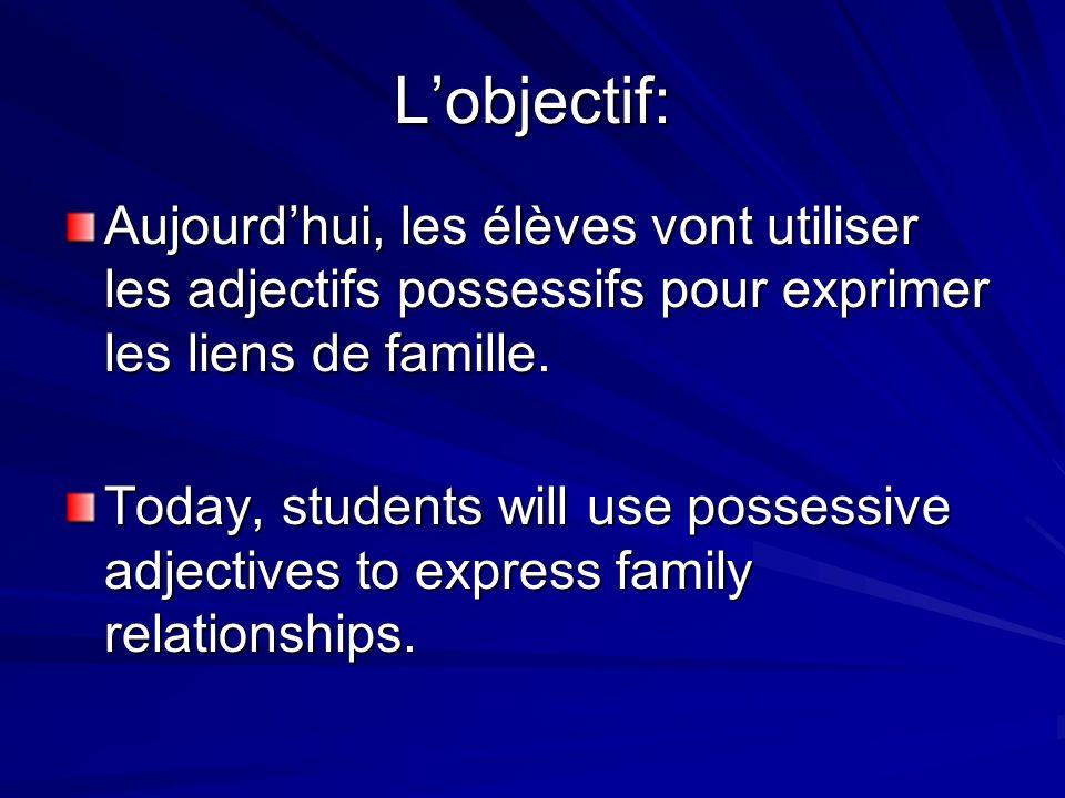 Lobjectif: Aujourdhui, les élèves vont utiliser les adjectifs possessifs pour exprimer les liens de famille. Today, students will use possessive adjec