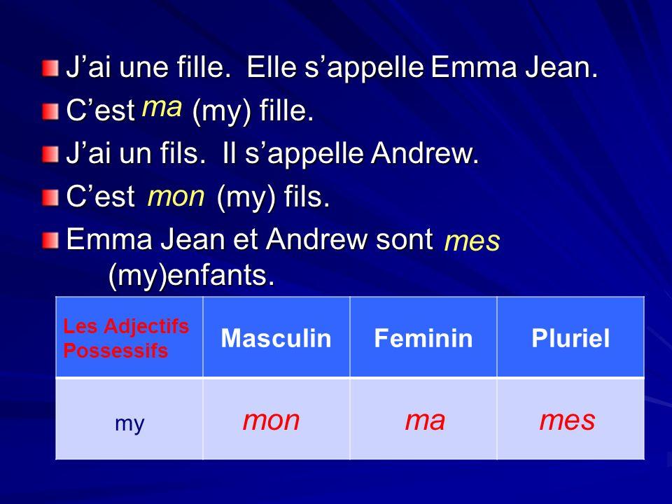 Jai une fille. Elle sappelle Emma Jean. Cest (my) fille. Jai un fils. Il sappelle Andrew. Cest (my) fils. Emma Jean et Andrew sont (my)enfants. ma mon