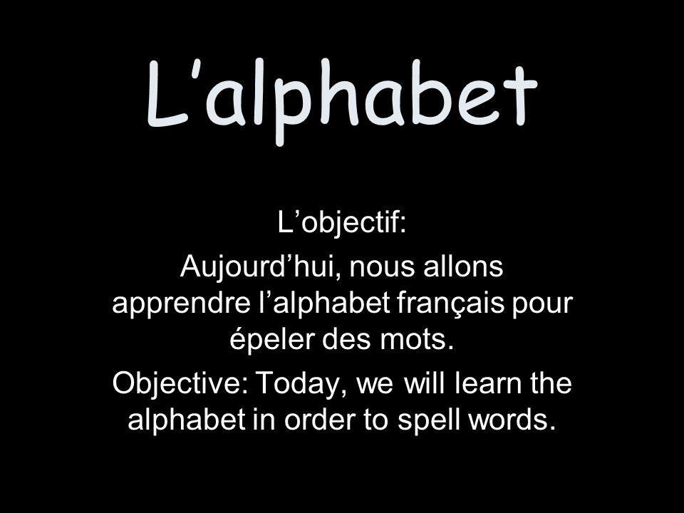 Lalphabet Lobjectif: Aujourdhui, nous allons apprendre lalphabet français pour épeler des mots.