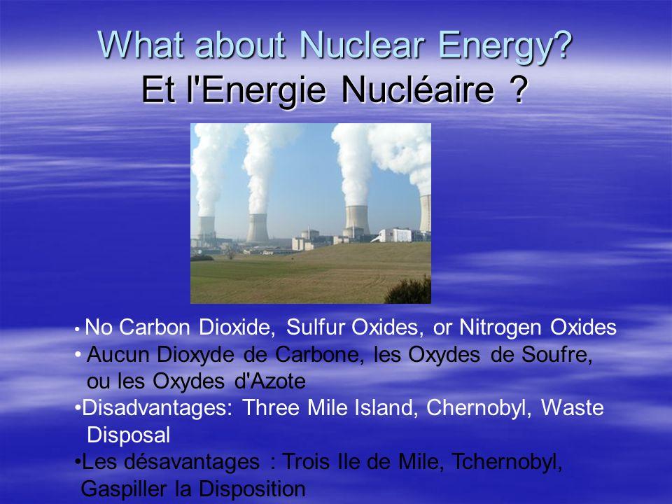 What about Nuclear Energy? Et l'Energie Nucléaire ? No Carbon Dioxide, Sulfur Oxides, or Nitrogen Oxides Aucun Dioxyde de Carbone, les Oxydes de Soufr