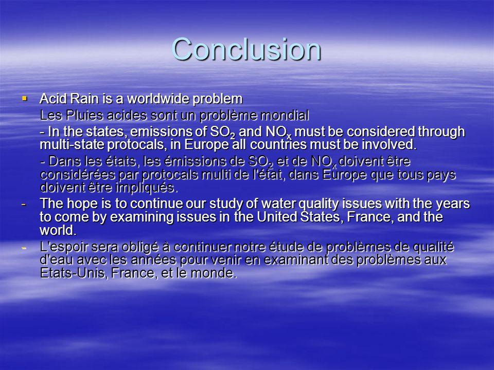 Conclusion Acid Rain is a worldwide problem Acid Rain is a worldwide problem Les Pluies acides sont un problème mondial - In the states, emissions of