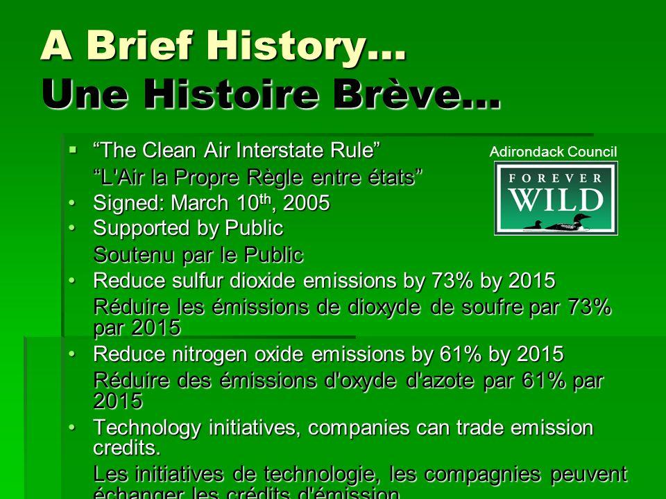 A Brief History… Une Histoire Brève… The Clean Air Interstate Rule The Clean Air Interstate Rule L'Air la Propre Règle entre états Signed: March 10 th