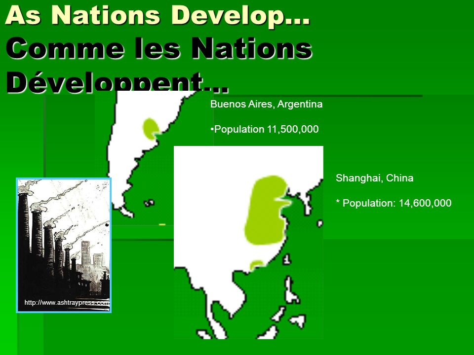 As Nations Develop… Comme les Nations Développent … Buenos Aires, Argentina Population 11,500,000 Shanghai, China * Population: 14,600,000 http://www.ashtraypress.com