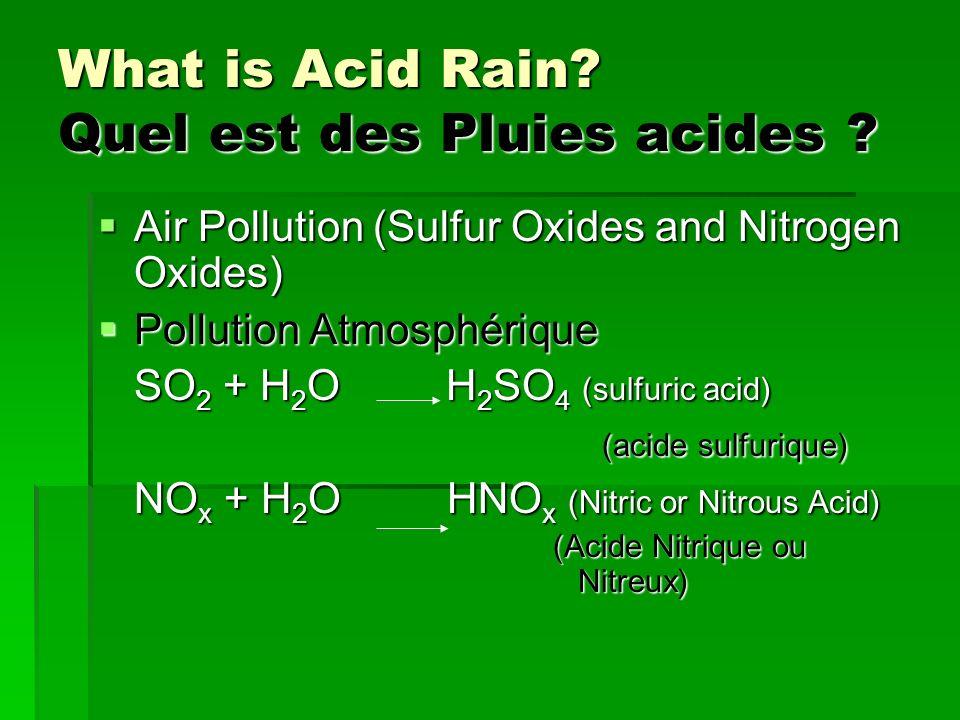 What is Acid Rain? Quel est des Pluies acides ? Air Pollution (Sulfur Oxides and Nitrogen Oxides) Air Pollution (Sulfur Oxides and Nitrogen Oxides) Po