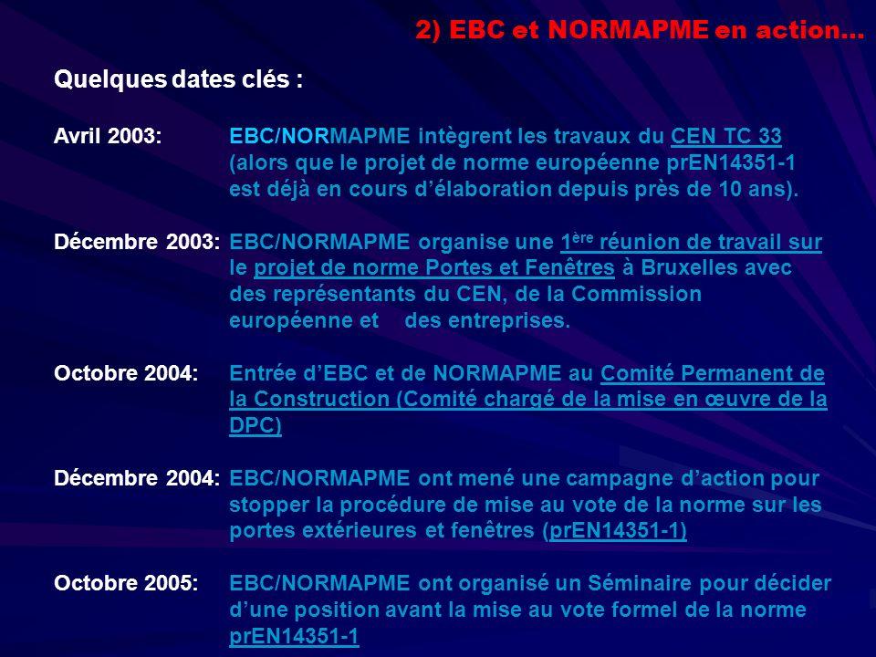Quelques dates clés : Avril 2003: EBC/NORMAPME intègrent les travaux du CEN TC 33 (alors que le projet de norme européenne prEN14351-1 est déjà en cours délaboration depuis près de 10 ans).