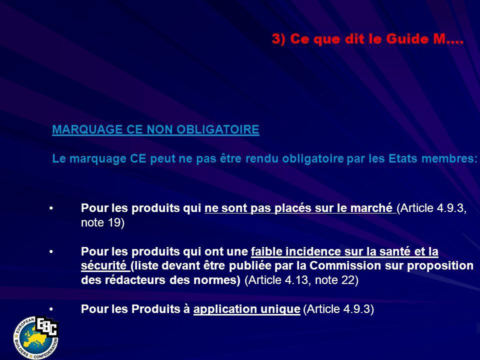 Pour les produits qui ne sont pas placés sur le marché (Article 4.9.3, note 19) Pour les produits qui ont une faible incidence sur la santé et la sécurité (liste devant être publiée par la Commission sur proposition des rédacteurs des normes) (Article 4.13, note 22) Pour les Produits à application unique (Article 4.9.3) MARQUAGE CE NON OBLIGATOIRE Le marquage CE peut ne pas être rendu obligatoire par les Etats membres: 3) Ce que dit le Guide M….