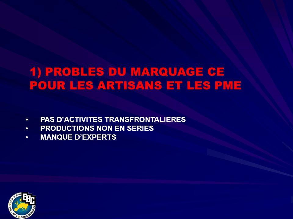 PAS DACTIVITES TRANSFRONTALIERES PRODUCTIONS NON EN SERIES MANQUE DEXPERTS 1) PROBLES DU MARQUAGE CE POUR LES ARTISANS ET LES PME