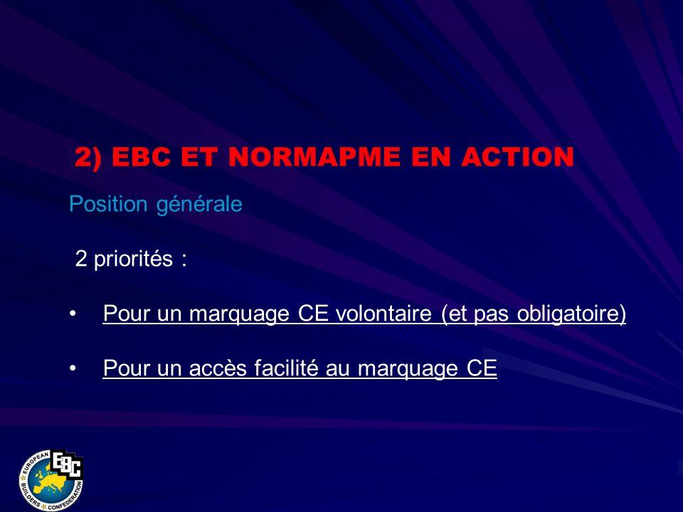 Position générale 2 priorités : Pour un marquage CE volontaire (et pas obligatoire) Pour un accès facilité au marquage CE 2) EBC ET NORMAPME EN ACTION