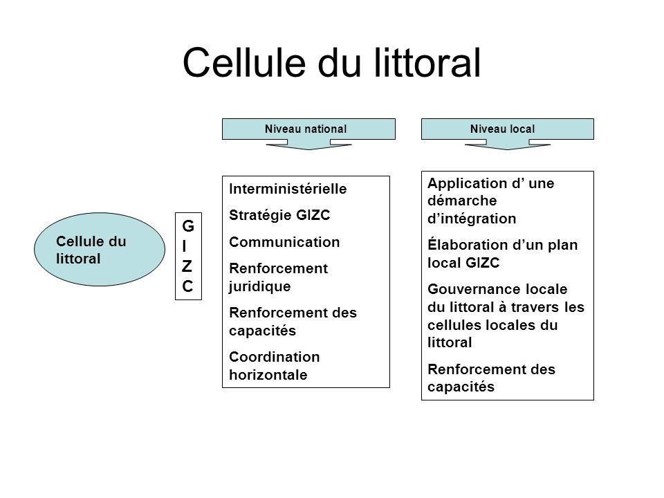 Cellule du littoral Niveau national Niveau local GIZCGIZC Interministérielle Stratégie GIZC Communication Renforcement juridique Renforcement des capa