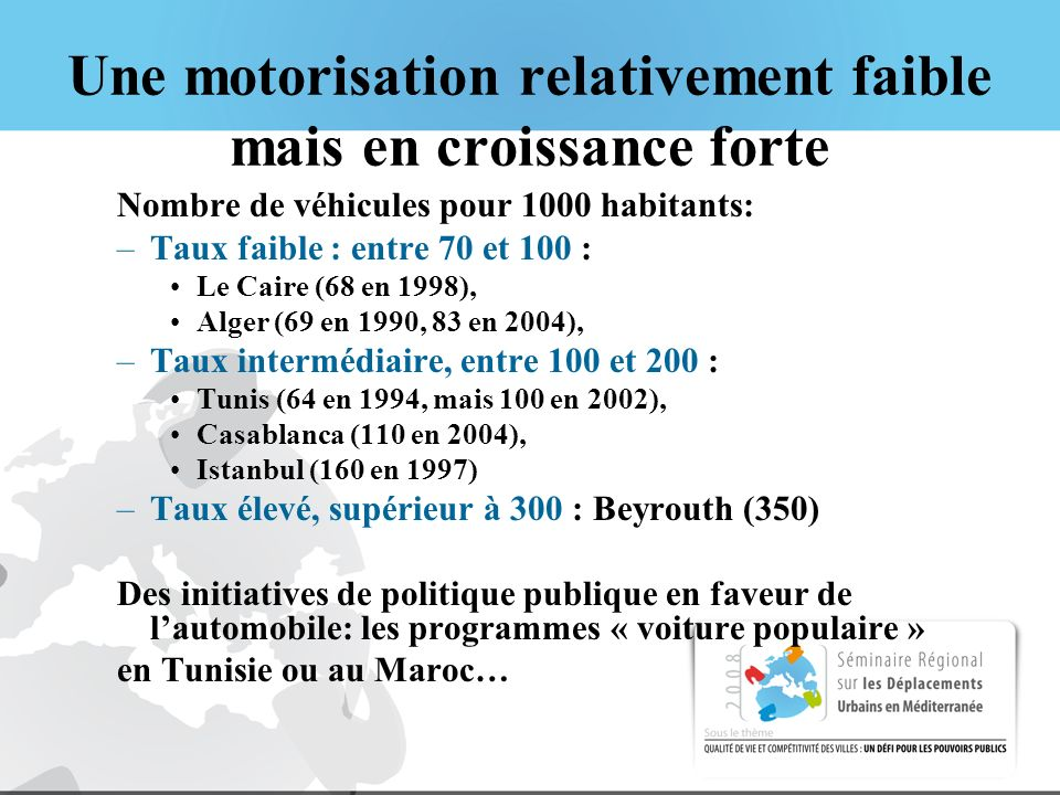 Une motorisation relativement faible mais en croissance forte Nombre de véhicules pour 1000 habitants: –Taux faible : entre 70 et 100 : Le Caire (68 en 1998), Alger (69 en 1990, 83 en 2004), –Taux intermédiaire, entre 100 et 200 : Tunis (64 en 1994, mais 100 en 2002), Casablanca (110 en 2004), Istanbul (160 en 1997) –Taux élevé, supérieur à 300 : Beyrouth (350) Des initiatives de politique publique en faveur de lautomobile: les programmes « voiture populaire » en Tunisie ou au Maroc…
