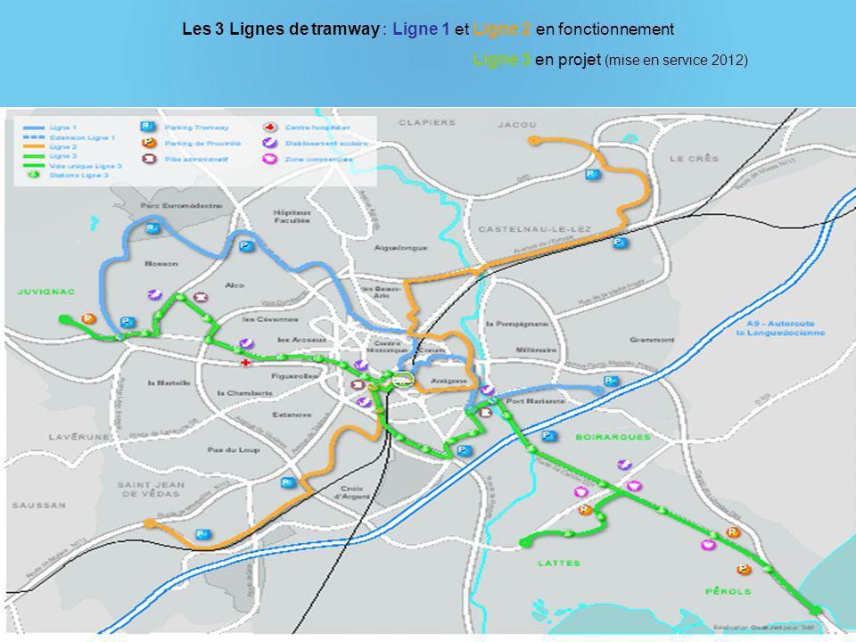 Les 3 Lignes de tramway : Ligne 1 et Ligne 2 en fonctionnement Ligne 3 en projet (mise en service 2012)