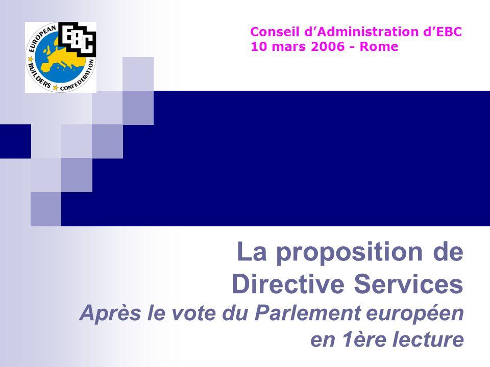 La proposition de Directive Services Après le vote du Parlement européen en 1ère lecture Conseil dAdministration dEBC 10 mars 2006 - Rome