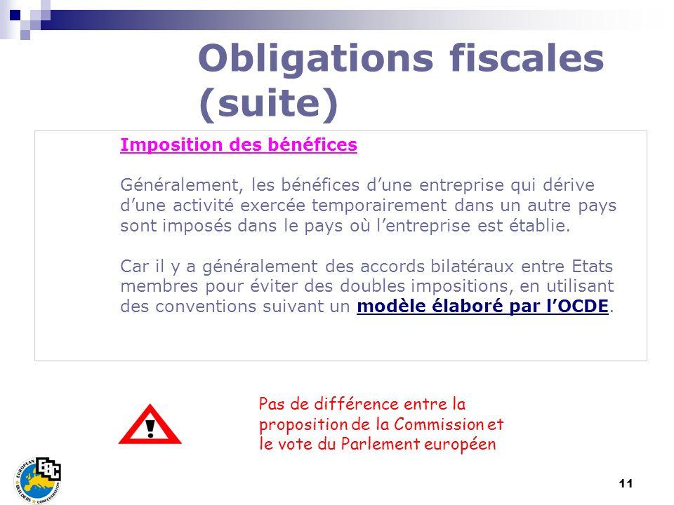 11 Imposition des bénéfices Généralement, les bénéfices dune entreprise qui dérive dune activité exercée temporairement dans un autre pays sont imposé