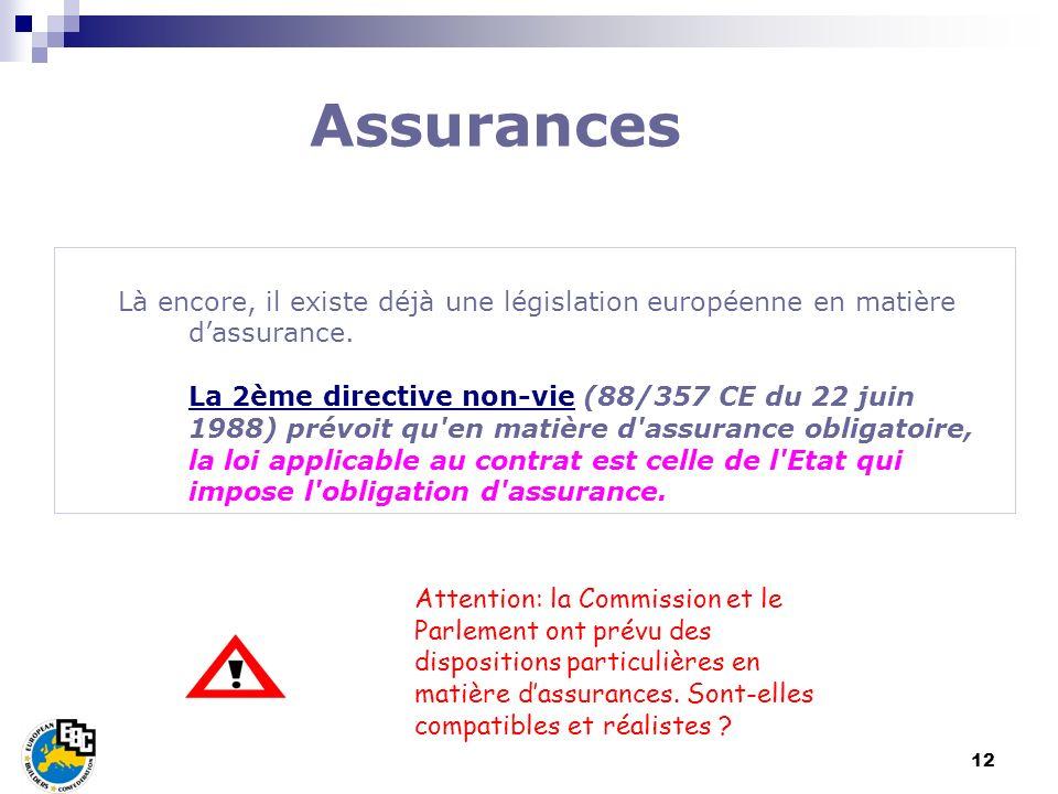 12 Là encore, il existe déjà une législation européenne en matière dassurance. La 2ème directive non-vie (88/357 CE du 22 juin 1988) prévoit qu'en mat