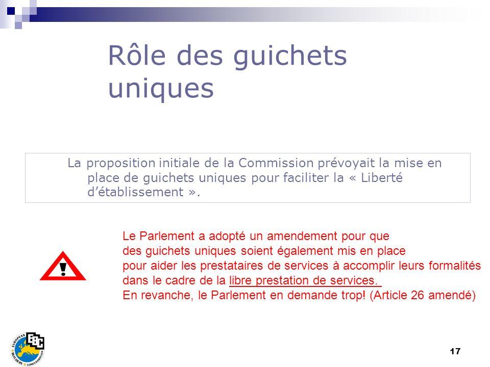 17 La proposition initiale de la Commission prévoyait la mise en place de guichets uniques pour faciliter la « Liberté détablissement ». Rôle des guic