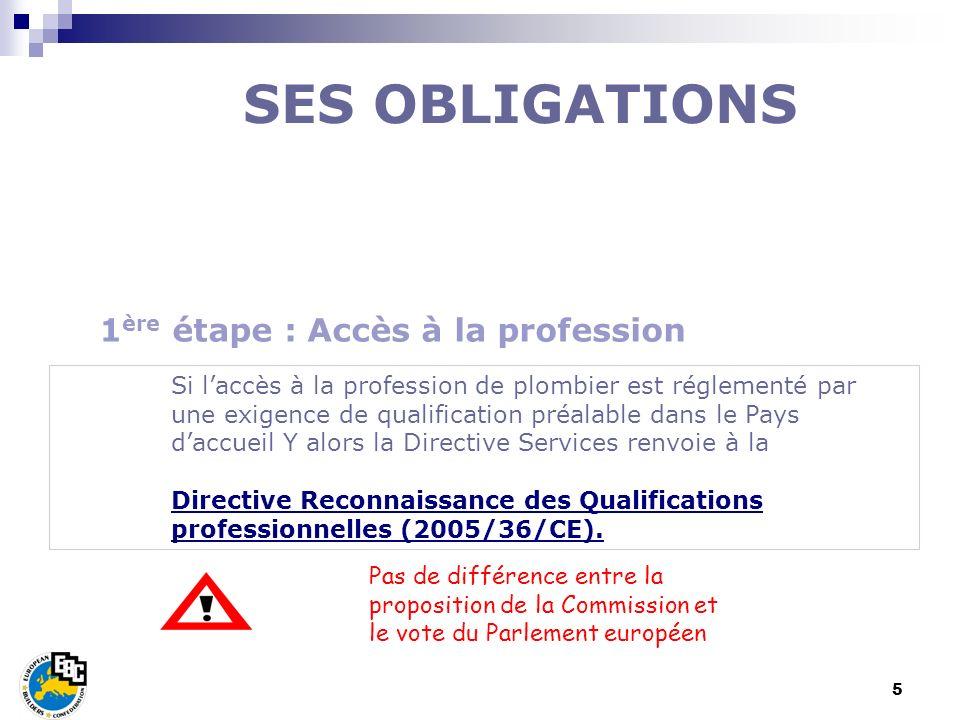 5 Si laccès à la profession de plombier est réglementé par une exigence de qualification préalable dans le Pays daccueil Y alors la Directive Services
